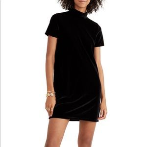 Madewell black mockneck velvet mini dress